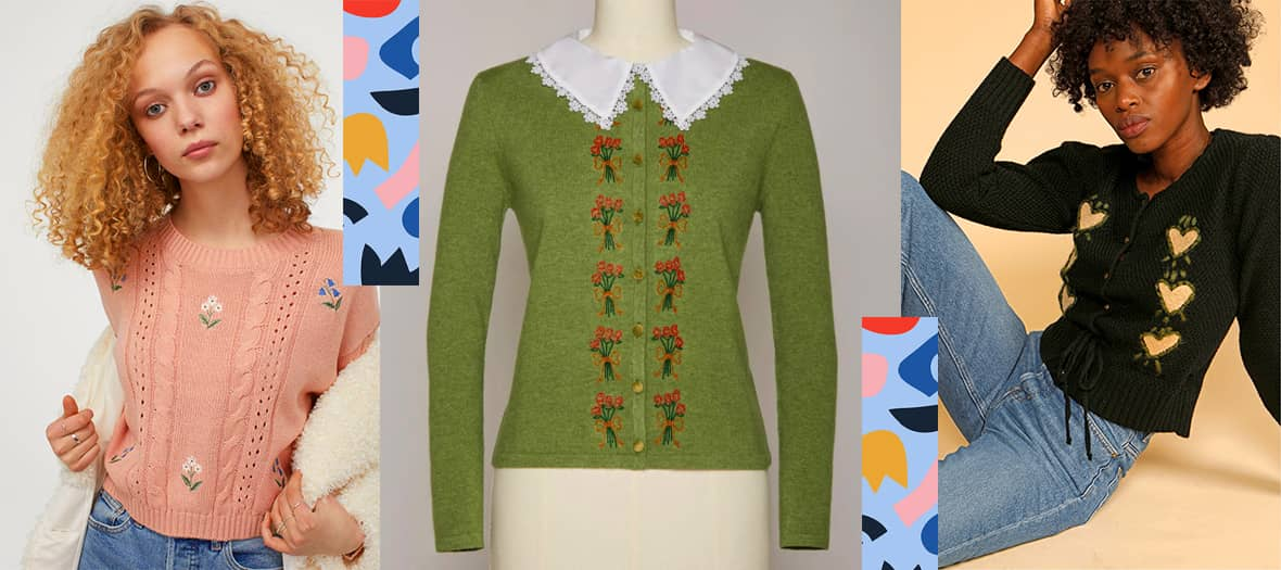 the cardigan or knitted sweater with embroidery details