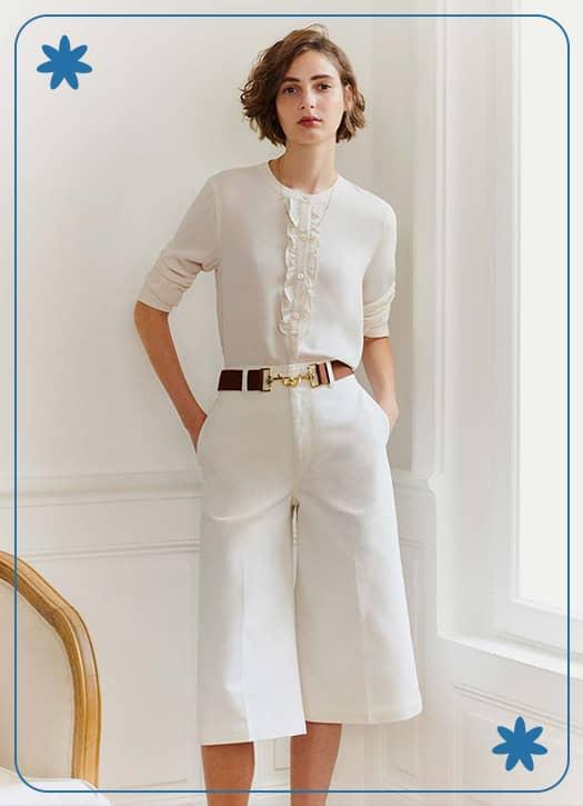 Jupe-culotte en twill de coton, Comptoir des Cotonniers