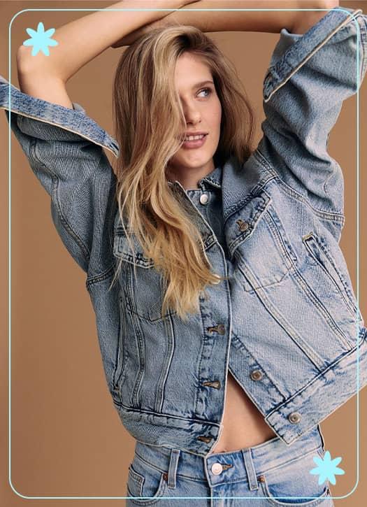 Veste en jean carrée, H&M