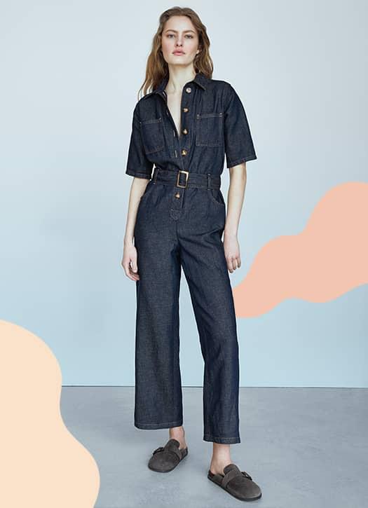 Combinaison en jean à manches courtes, Massimo Dutti