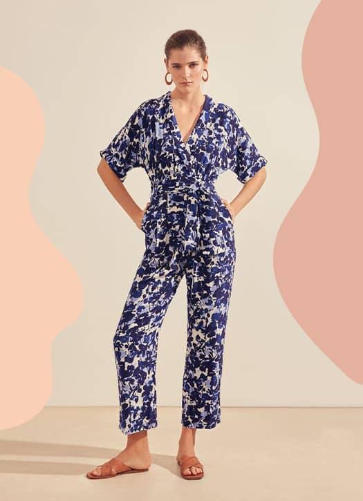 Combinaison pantalon Tanel imprimé fleurs bleues, Suncoo