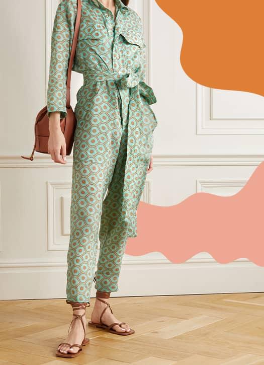 Combi-pantalon en lin imprimé à ceinture, Yvonne S