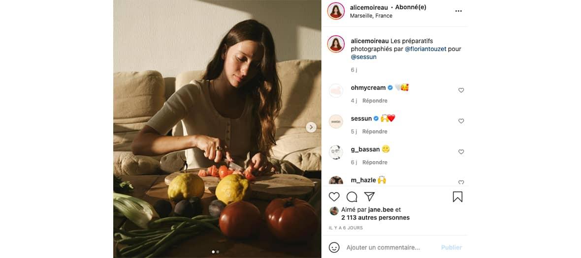 Le compte instagram de l'influenceuse @alicemoireau