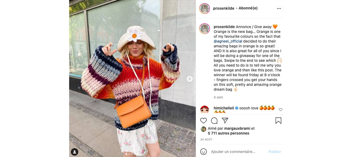 Le compte instagram de l'influenceuse Pernille Rosenkilde