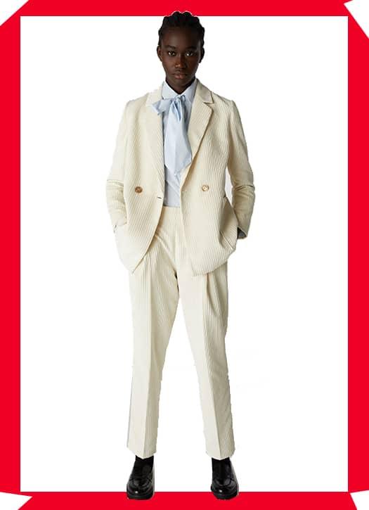 Blazer vanille et pantalon assorti, le tout Benetton