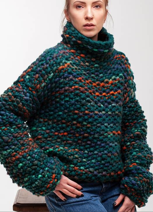 Pull émeraude, Knit Design