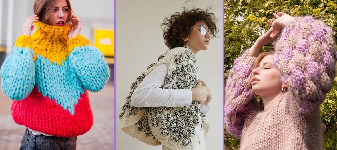 """Le """"chunky knit"""", ou pull tricoté en très, très grosse maille"""
