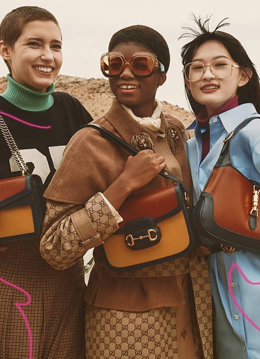 Sac à épaule Dionysus, Sac à épaule Horsebit 1955, Sac à épaule Jackie 1961, le tout Gucci