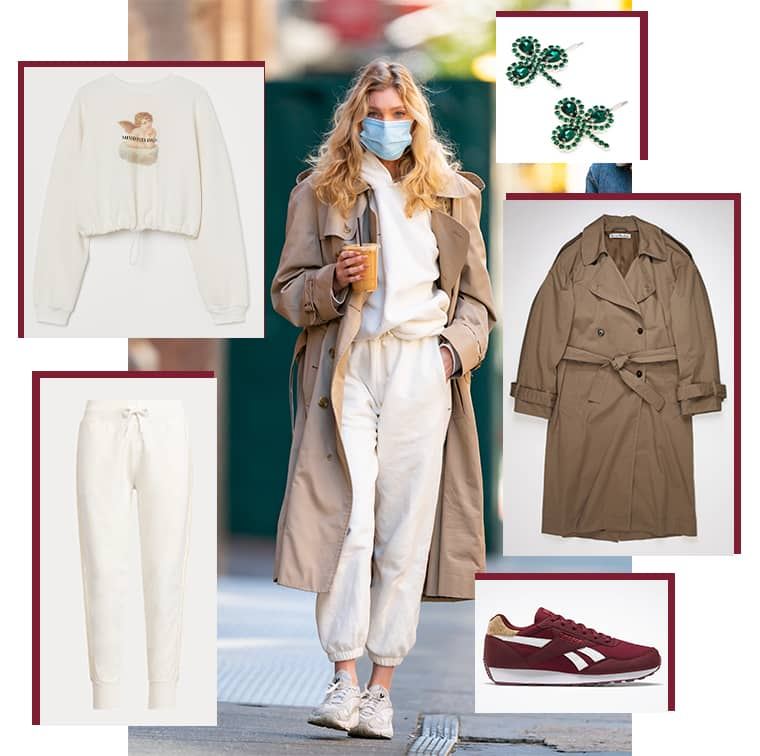 Sweat court H&M, Pantalon de jogging en molleton perlé, Polo Ralph Lauren, Trench en coton, Acne Studios, Rewind Run bordeaux, Reebok et Barrettes à ornements cristaux Clover Art School