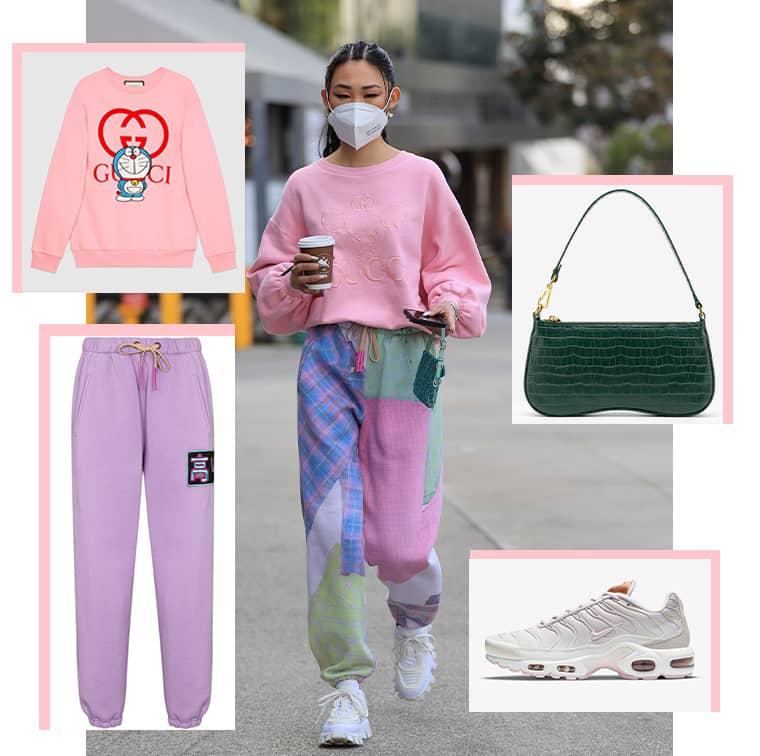 Sweat-shirt en coton Doraemon x Gucci, Pantalon de jogging à broderies, Natasha Zinko,   Sac Baguette Eva vert foncé effet croco JW Pei et Air Max Plus, Nike.