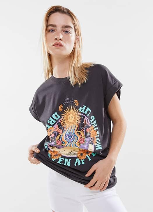 T-shirt oversize imprimé, Bershka