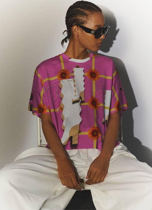 Print kimono T-shirt in cotton, Loewe