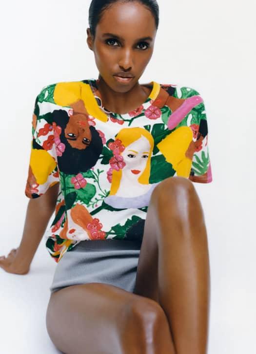 T-shirt à col rond, Zara