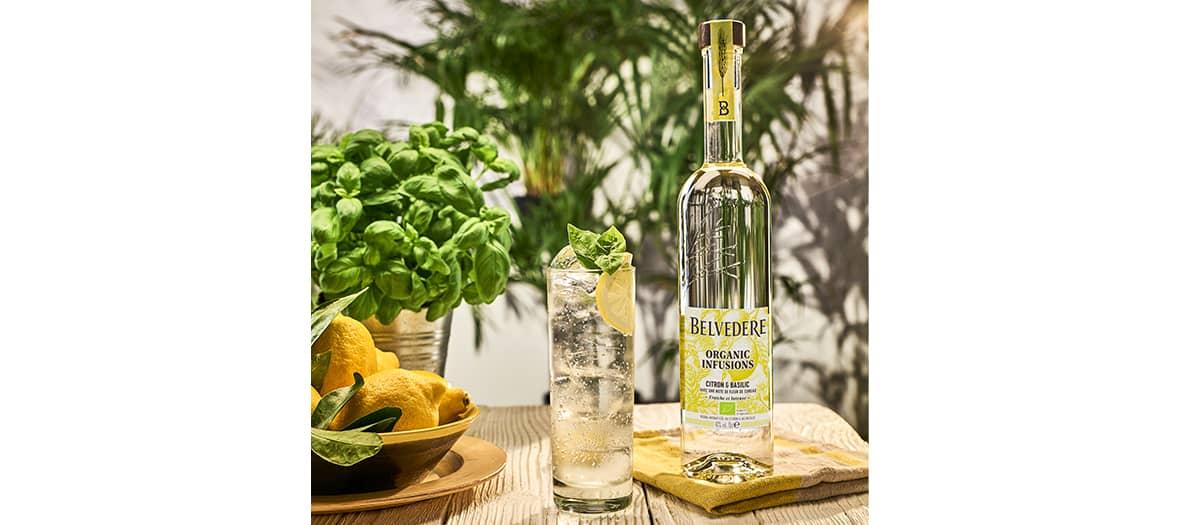 Un cocktail frais associé à des notes de citron, de basilic et de fleur de sureau. Les herbes et les fruits s'associent avec les saveurs du seigle polonais distillé au feu pour créer un cocktail, très léger et subtil.