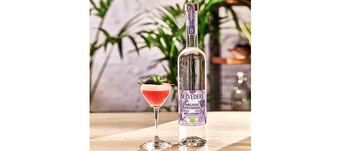 Un cocktail frais mettant en avant les notes de baies et d'herbes fraîches de Belvedere Organic Infusions Mûre et Citronnelle, avec une légère note d'agrumes.