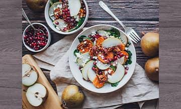 Une salade avec des produits de saison en plein hiver
