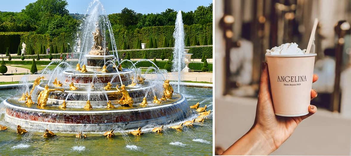 Une fontaine d'eau dans le parc de Versailles