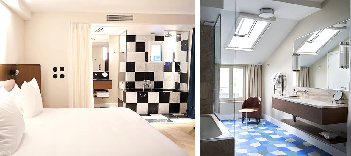 A standard room and bathroom with room service at the hotel du sentier
