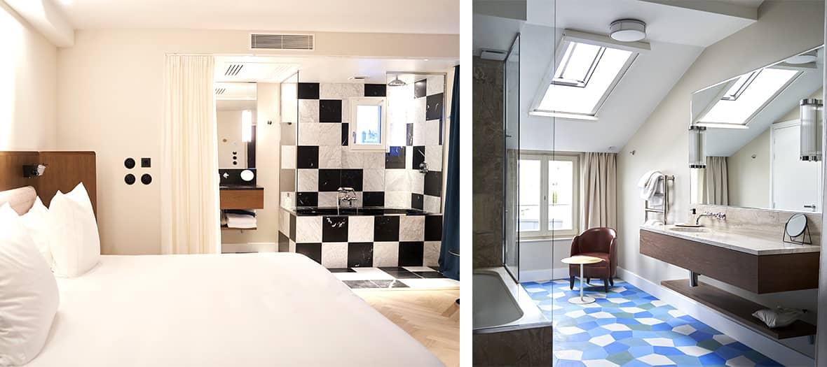 Une chambre standard et salle de bain avec room service à l'hôtel du sentier