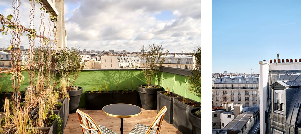 Private rooftop with a view of Paris at the Hôtel du Sentier in Paris